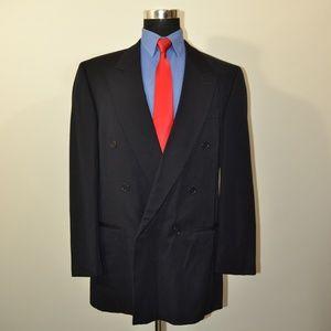 Brandini 42L Sport Coat Blazer Suit Jacket Navy Wo